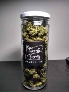 tweedlefarms.com hemp flower in glass packaging